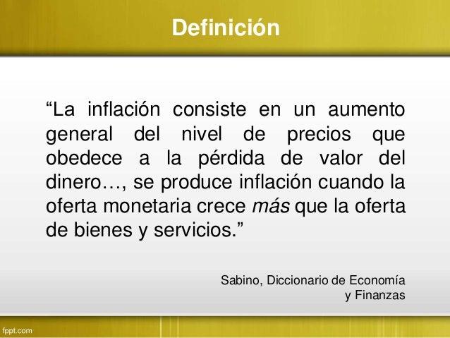 definicion de inflacion en economia segun diccionario
