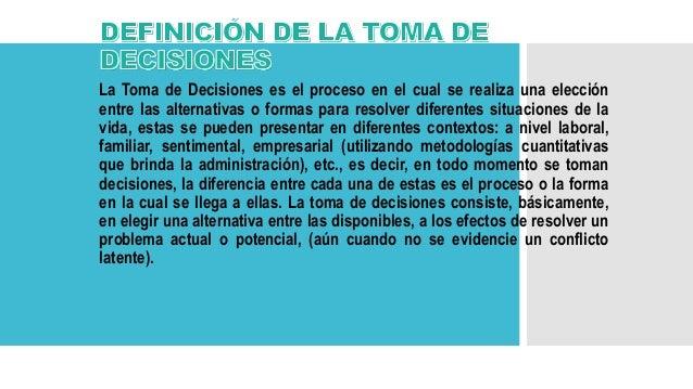 definicion de toma de decisiones pdf