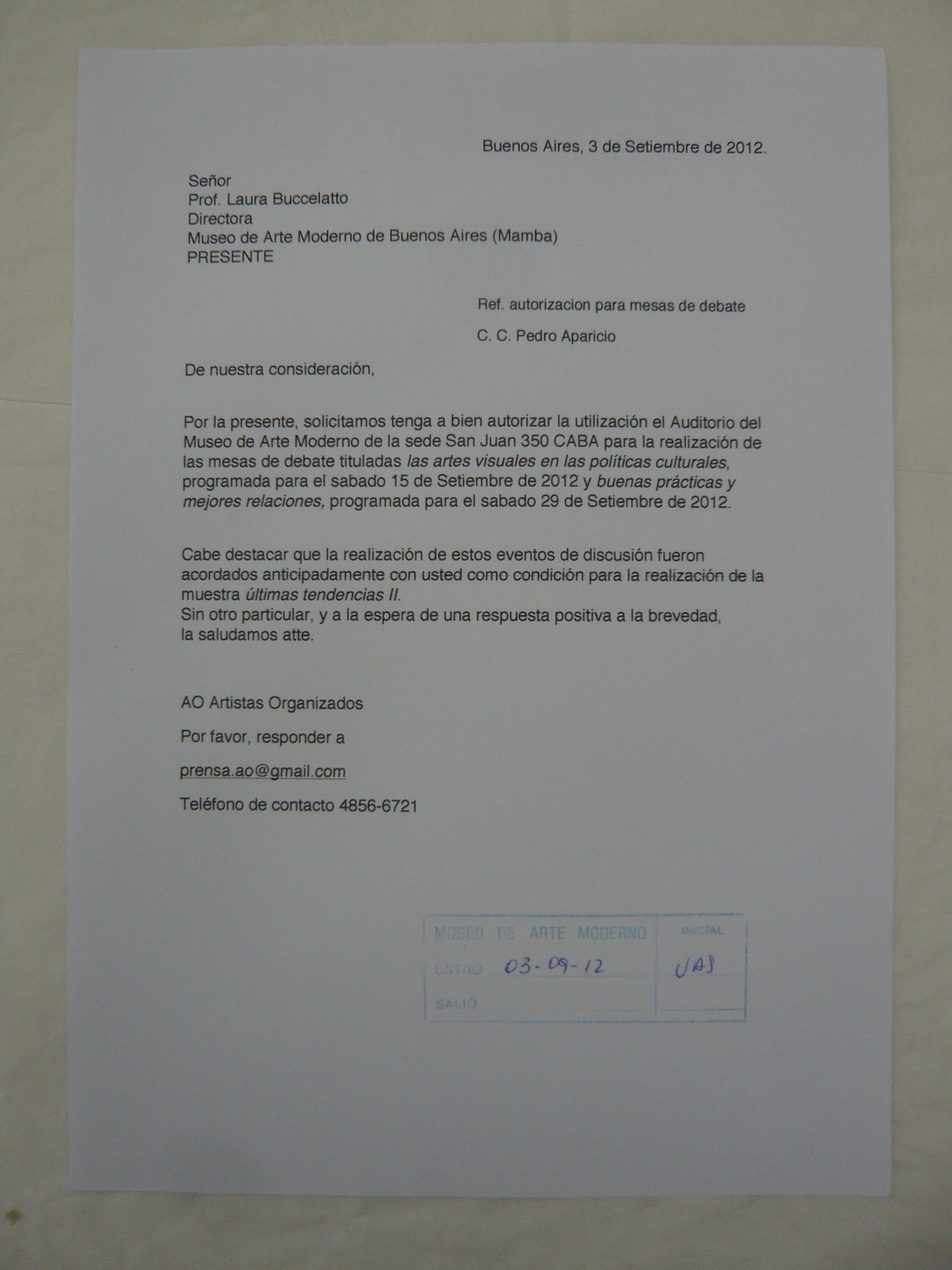carta de solicitud de personas para realizar un evento