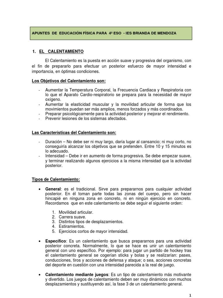 calentamiento y prevencion de lesiones en la actividad fisica pdf