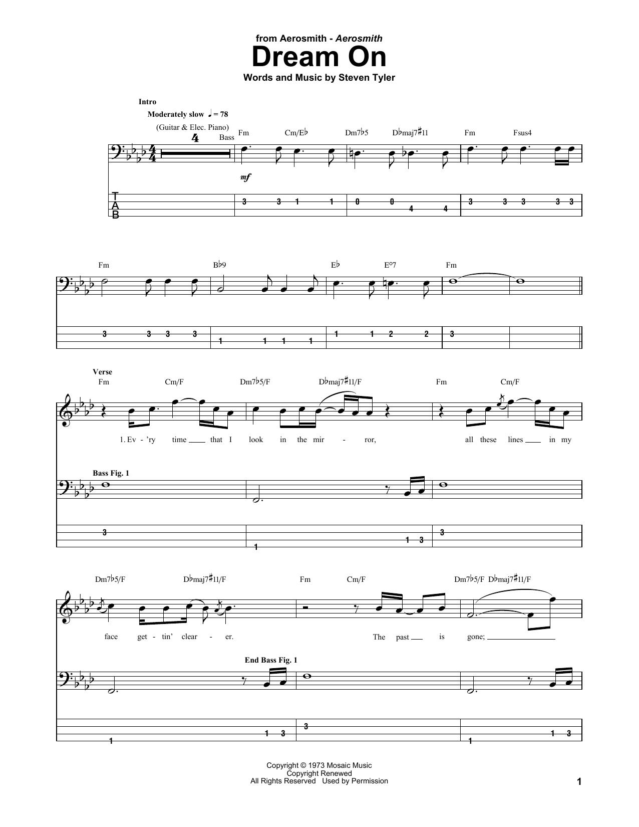 aerosmith dream on tab pdf