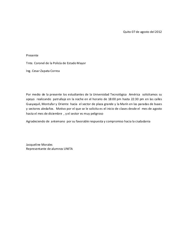 carta de solicitud a carabineros charla