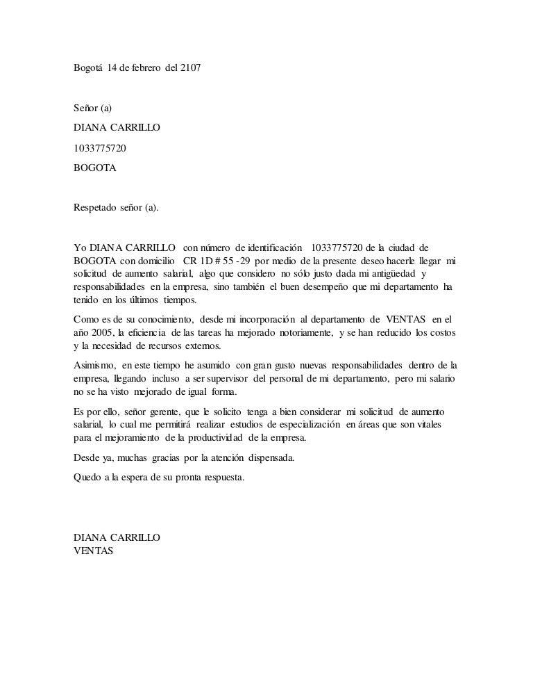 carta de solicitud de aumento de sueldo word