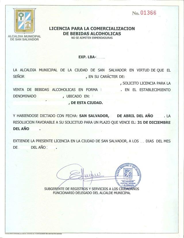 carta de solicitud de permiso municipal para venta de licor