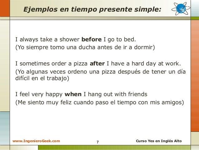 dar instrucciones en ingles en tiempo presente