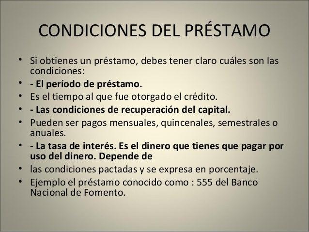 condiciones para entregar un credito para emprendimiento
