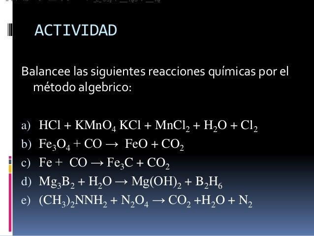 balanceo de ecuaciones ejercicios pdf
