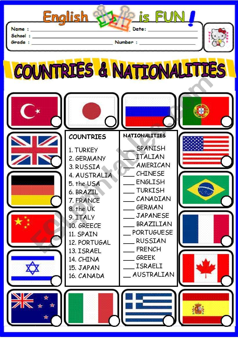 countries and nationalities pdf worksheet