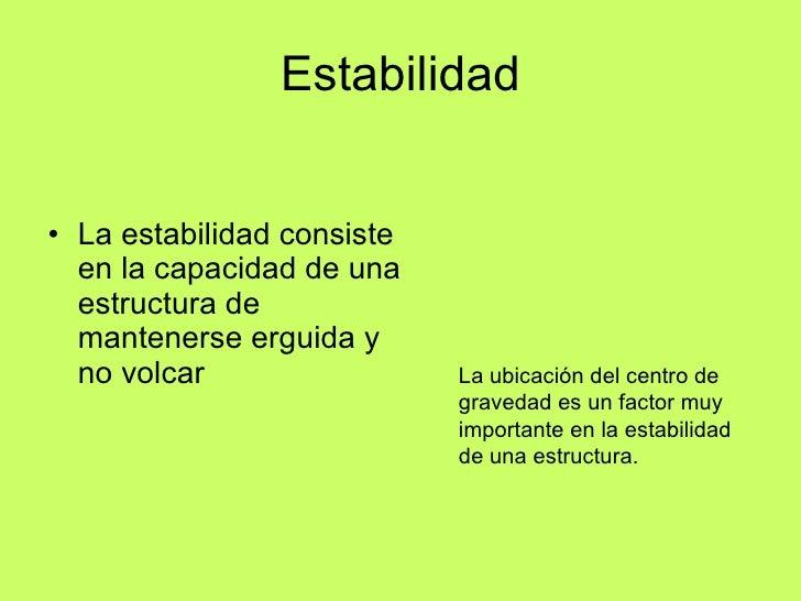 condiciones de estabilidad de una estructura